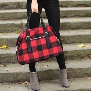 Charming Charlie red & black buffalo check bag